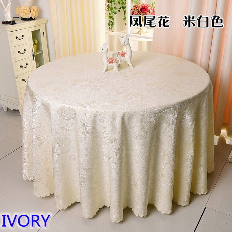 Ivory Colour Jacquard Table Cloth Damask Pattern Table Cover For Wedding Hotel And Round Table Linen
