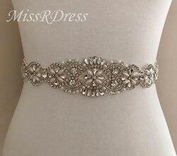 MissRDress Strass Hochzeit Gürtel Perlen Blume Braut Gürtel Silber Kristall Jeweled Braut Schärpe Für Hochzeit Abendkleid JK806