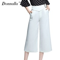 Donnalla Women Casual Pants White Loose High Waist Wide Leg Trousers Office Work Women Baggy Pants