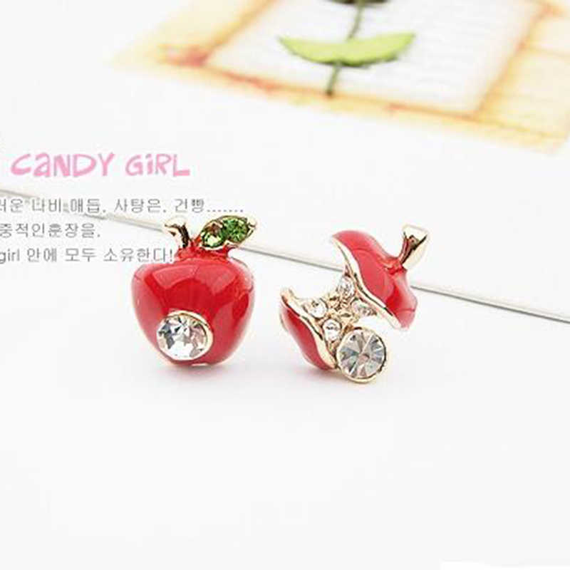 ZN Hot sale Fashion lovely red drops of glaze asymmetric apple crystal stud earrings for women Cheap Jewelry
