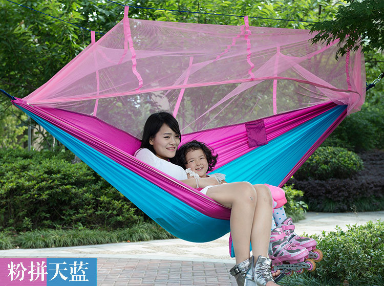 Wholesale Portable 260*140CM Tree Hanging Hammocks Outdoor Casual Swing chair with Anti-mosquito nets 2 people portable parachute hammock outdoor survival camping hammocks garden leisure travel double hanging swing 2 6m 1 4m 3m 2m