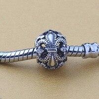 Original 925 Sterling Silver Vintage Fleur De Lis Charms DIY Beads Fits Pandora Bracelets