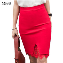 MISSFEBPLUM Fashion 2017 Summer Women Office Pencil Skirts Lace Front Split Slim Step Skirt High Waist Plus Size Sexy Faldas