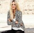 Mulheres jaqueta 2016 Nova Moda Terno Blazer Dobrável Mangas Compridas Estampa de Leopardo Único Botão Vogue Jaquetas Blazer Terno