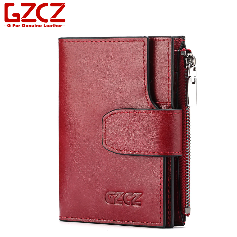 цены GZCZ 2018 New Italy Cow Genuine Leather Women Wallet Purse Female Red Cowhide Leather Purse Women's Handbag Carteira Feminina
