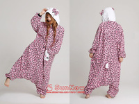 HOT Animal Kigurumi Onesies Pyjamas Cute Pink Leopard Kitty Cat Costumes Sleepwear Sleepsuit For Women Girls