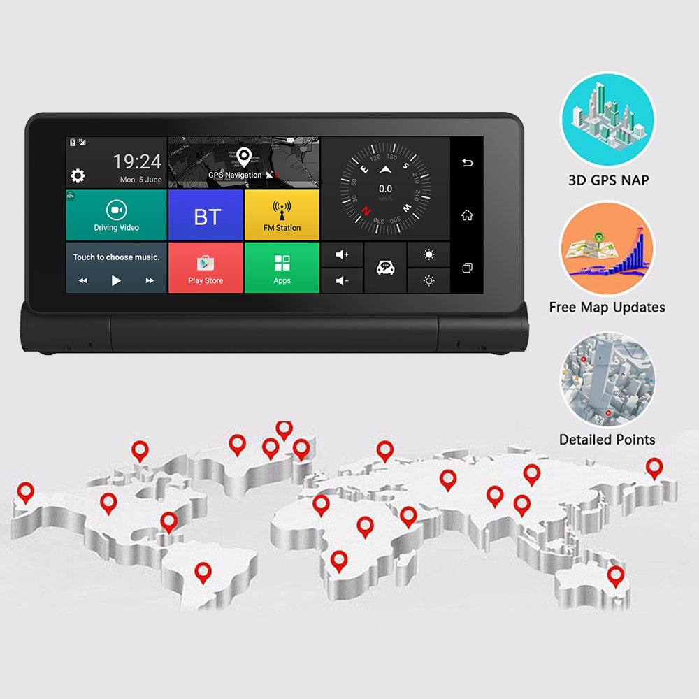 12V 3G Car GPS Navigation Android 5.1 BT ROM 16GB RAM 1GB Full HD 1080P Car DVR Dual Lens Camera TS22 Car GPS Navigators(China)