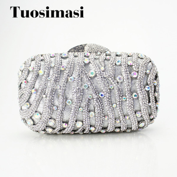 New Crystal Evening Clutch Lady Handbag sliver color hot selling popular designer women handbags women custom name crystal big diamond clutch full crystal hot selling 2017 new fashion evening bags 1001bg