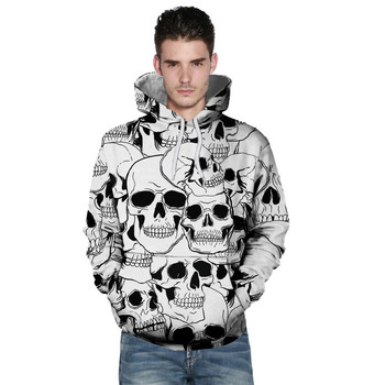 Long sleeve 3d print Big Size Skull White Hoodies
