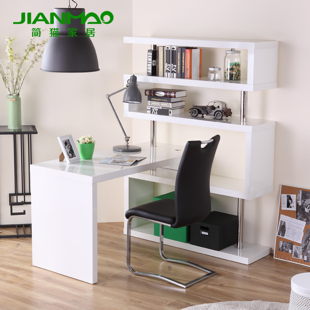 Jane Cat Home Minimalist Modern Corner Computer Desk Bookcase Combination Xkjqcjto
