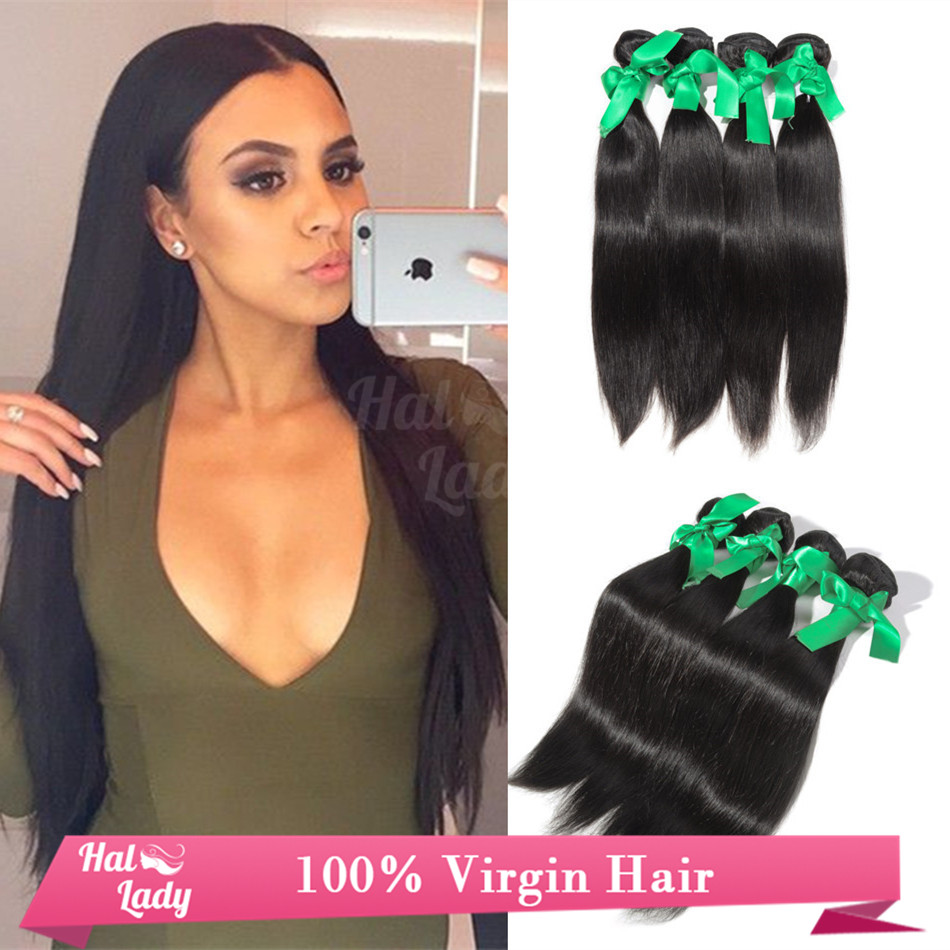 Aliexpress Buy Halo Lady Peruvian Virgin Hair Straight 7A Silky Human Extensions 4 Pcs Lot 28 30 32 34 36 38 40 Inches From