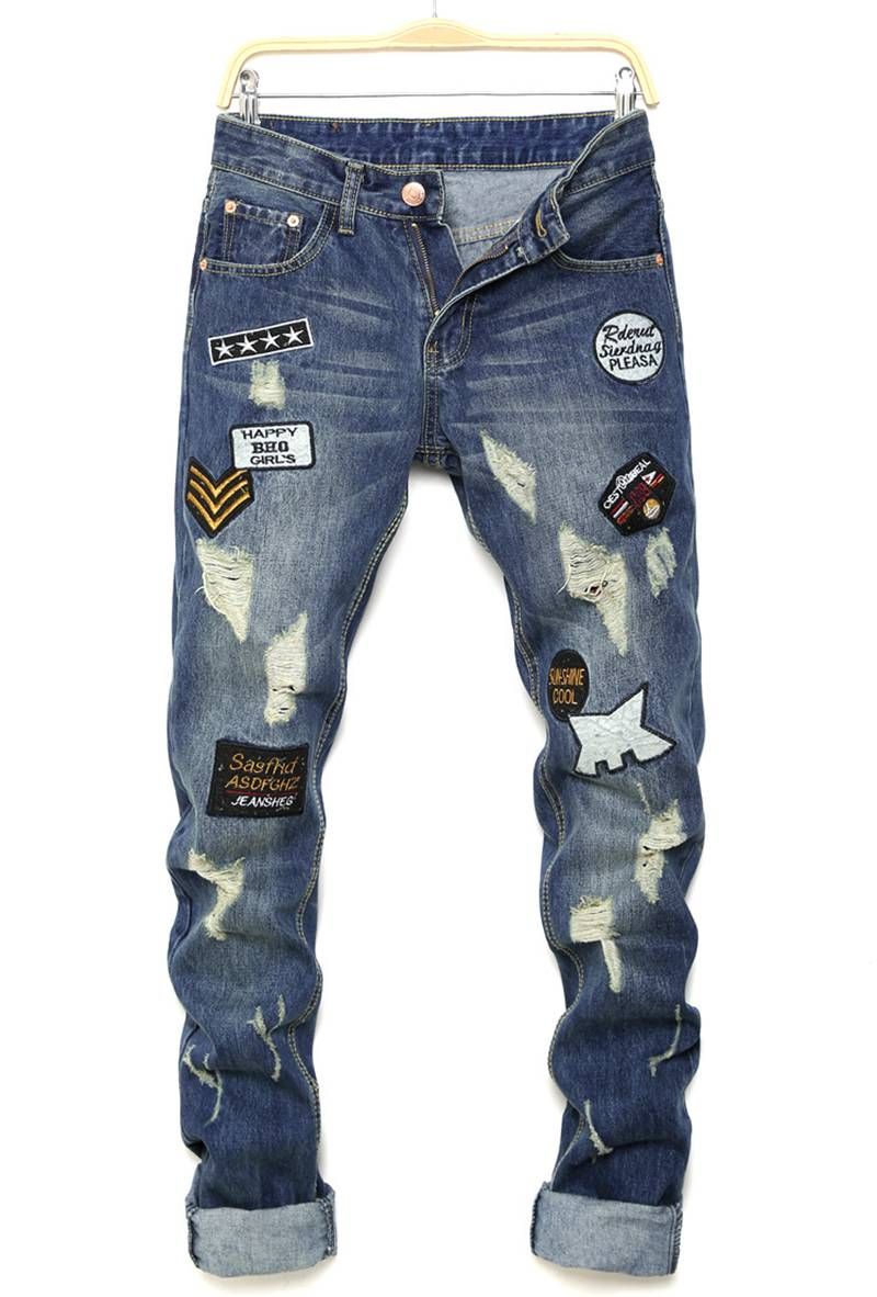 Mens Famous Brand Designer Biker Jeans Pants Distressed Motorcycle Joggers Slim Fit Ripped Jean Denim Embroidery Letter Trousers 2017 fashion patch jeans men slim straight denim jeans ripped trousers new famous brand biker jeans logo mens zipper jeans 604