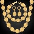 Caliente Dubai Chapado En Oro de Joyería Fija el Collar Pulsera Pendientes Para Las Mujeres Étnico Religión Islámica Musulmán Allah Conjunto de Monedas NEH5107