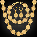 Quente Dubai Banhado A Ouro Conjuntos de Jóias Colar Brincos Pulseira Para Mulheres Étnica Religião Muçulmana Islâmica Allah Moeda Conjunto NEH5107
