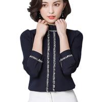 2017 Sonbahar Standı Yaka Çiçek Dantel Şifon Bluz 207 Kadın Uzun Kollu Ofis Bayanlar Puff Kol Şifon Gömlek Blusas Tops