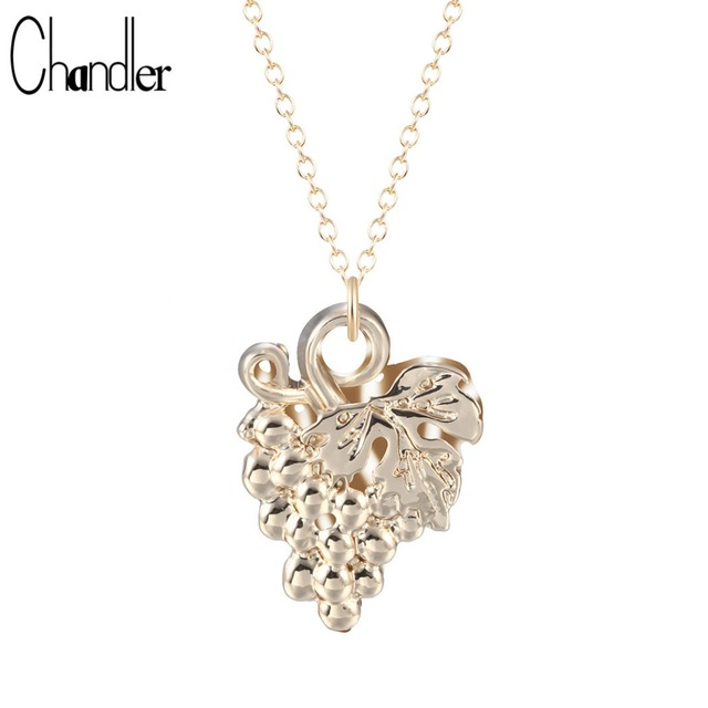 Chandler alloy grape cluster pendant necklace long link chain femme chandler alloy grape cluster pendant necklace long link chain femme collares fruit fashion metal jewelry for aloadofball Image collections