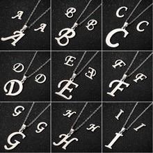 SMJEL Stainless Steel Initial Letter Necklace Men Women Alphabet Pendant Friends Family Necklaces Statement Collier Femme