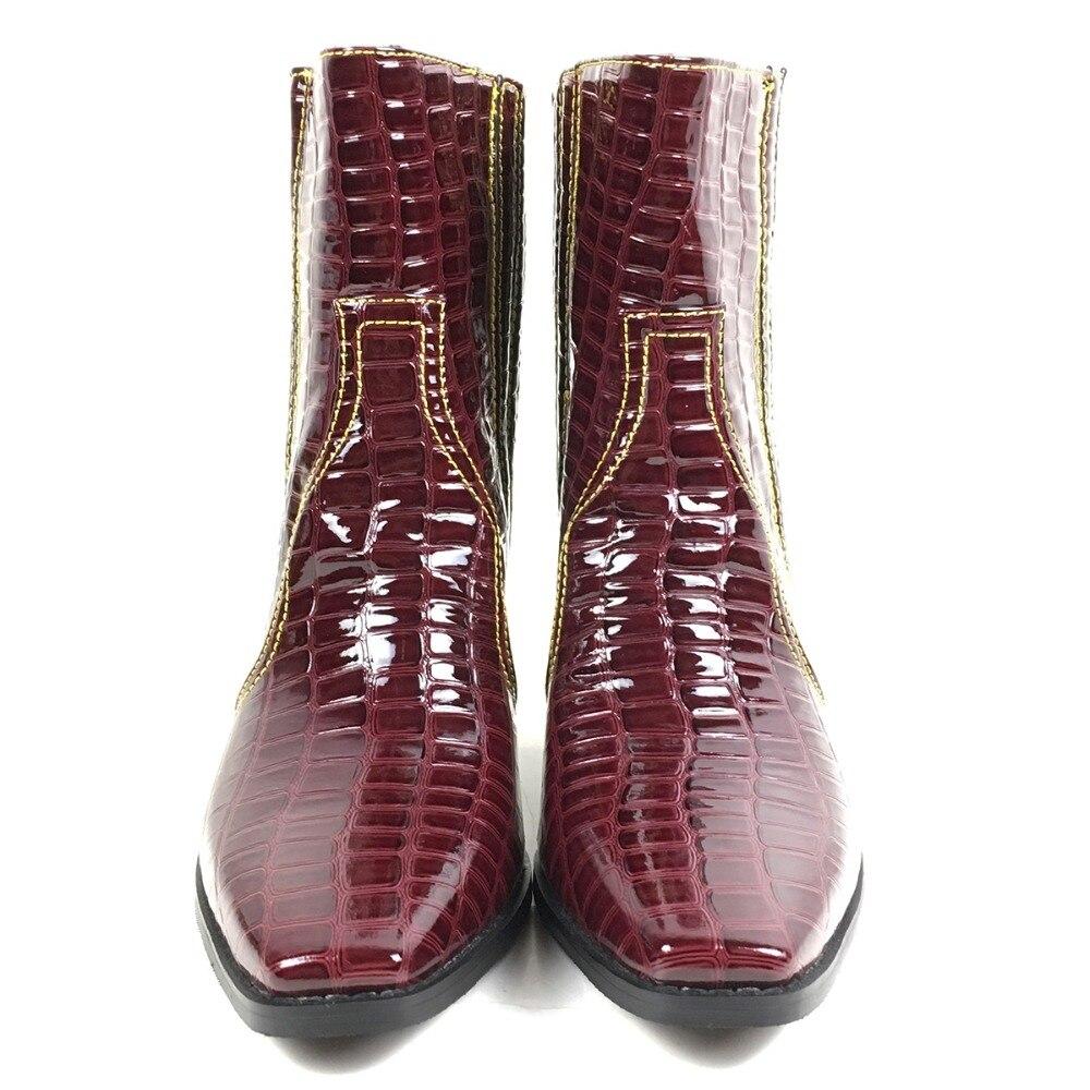 Aimirlly Frauen Stiefeletten karree Block Ferse Krokodil Druck Cowboy Booties Wein Rot Winter Herbst Clubwear Partei Schuhe-in Knöchel-Boots aus Schuhe bei  Gruppe 3