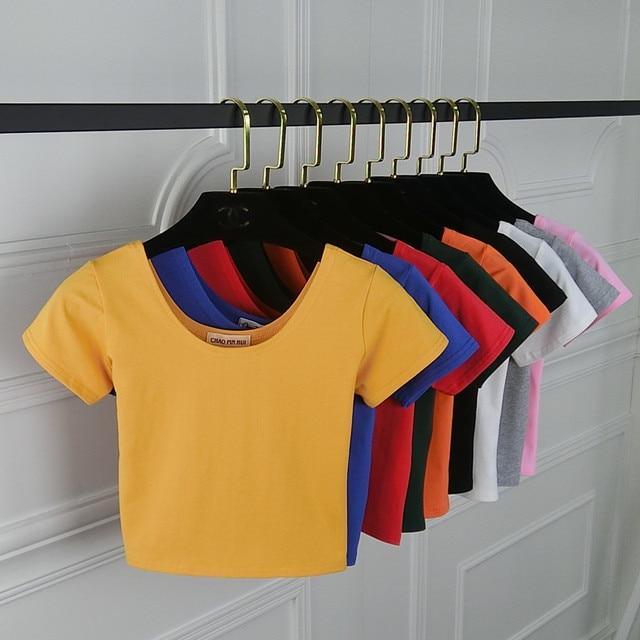2018 קיץ נשים חולצה קצר שרוול O-צוואר מזדמן כותנה שחור לבן אדום צהוב חולצות Tees נקבה גבירותיי יבול למעלה
