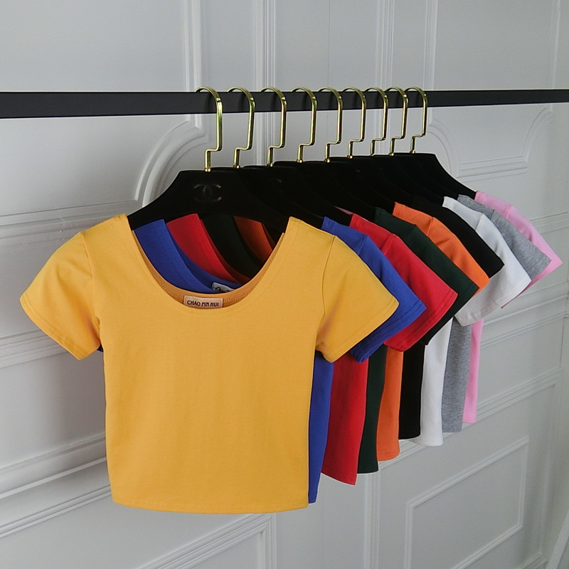 2019 Summer Women T Shirt Short Sleeve O-neck Casual Cotton Black White Red Yellow Tops Tees Female Ladies Crop Top