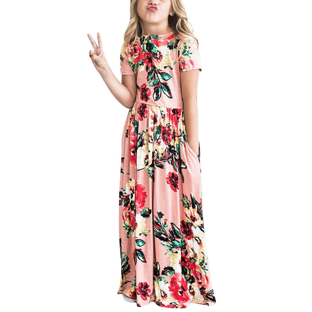 5f67d9881d56b US $11.67 35% OFF|Bohemian A Line Summer Girls Maxi Dresses 2019 Short  Sleeves Printed Dresses Birthday Party Dresses Kids Beachwear Clothes-in ...
