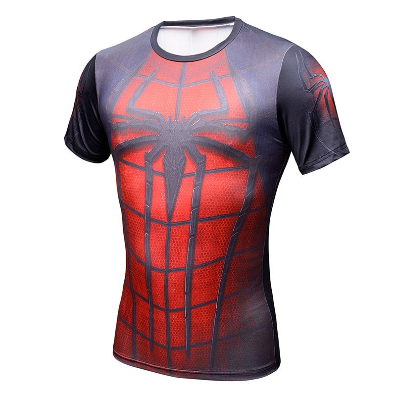 2017 Spiderman Ironman Superman Captain America Compression Hemd Superhero Soldat Marvel Comics Mens Short T-shirt