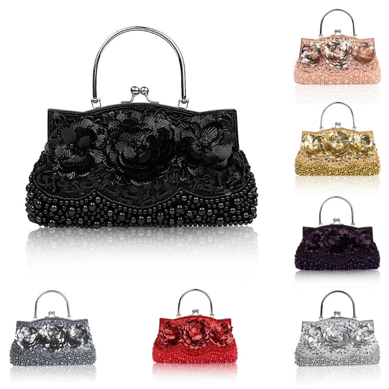 THINKTHENDO Women Beaded Evening Bag Sequins Clutch Handbag Cocktail Party Chain Bag Purse