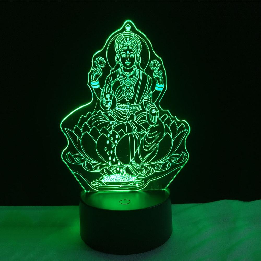 Китайский Стиль 3D Будды светодиодный ночник USB touch настольная лампа как украшение Рождество Праздничные огни четыре руки фигура будда