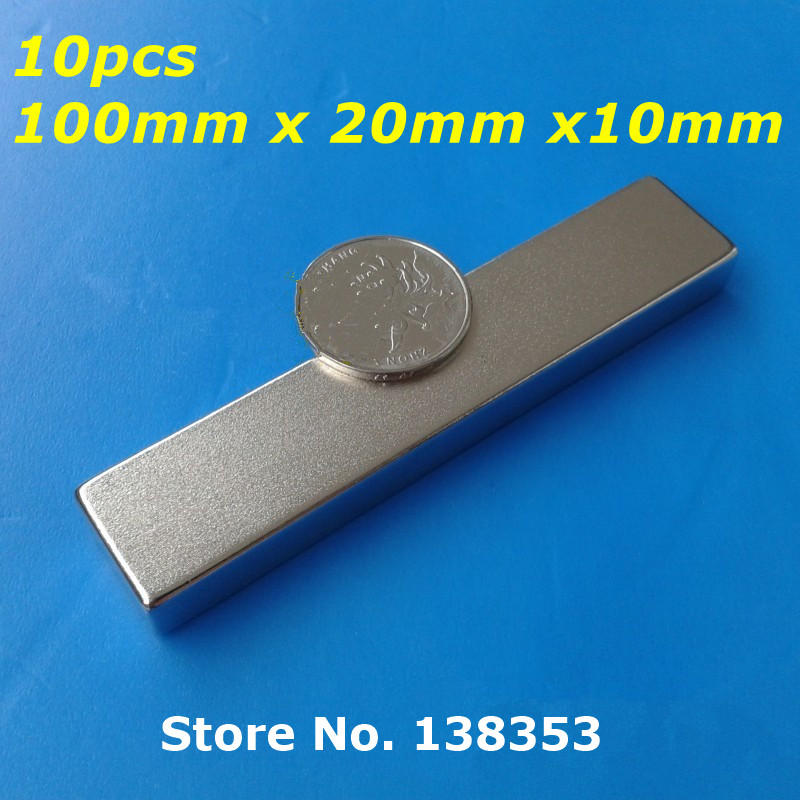 Wholesale 10pcs Super Strong Neodymium Rectangle Block Magnets 100mm x 20mm x 10mm N35 Rare Earth NdFeB Cuboid Magnet hakkin 5pcs super strong neodymium magnet block cuboid rare earth magnets n35 20 x 10 x 2mm
