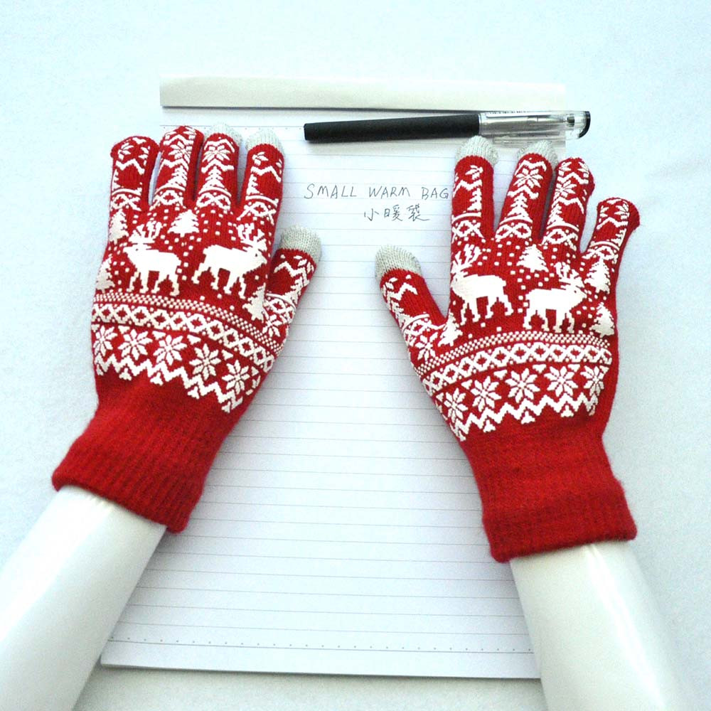 Women christmas gloves winter warm knitted wapiti pint tough screen cute gloves mittens cashmere guantes mujer gants