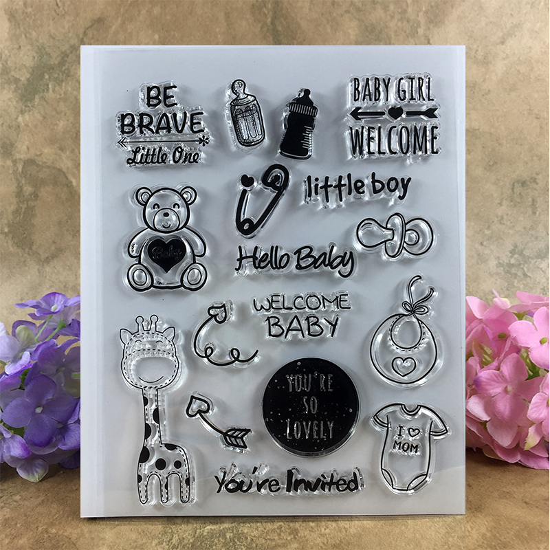 Lovely Little Baby Be Brave Welcome Baby Scrapbook DIY photo cards account rubber stamp clear stamp transparent stamp  15*18 CM scrapbook diy photo cards account rubber stamp clear stamp finished transparent chapter wall decoration 15 18