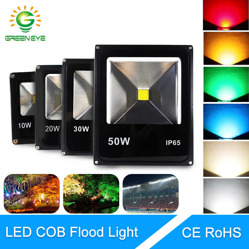 GreenEye LED Floodlight 10W 20W 30W 50W RGB AC 90~265V Led Spotlight Outdoor Lighting Waterproof Projector Reflector lamp