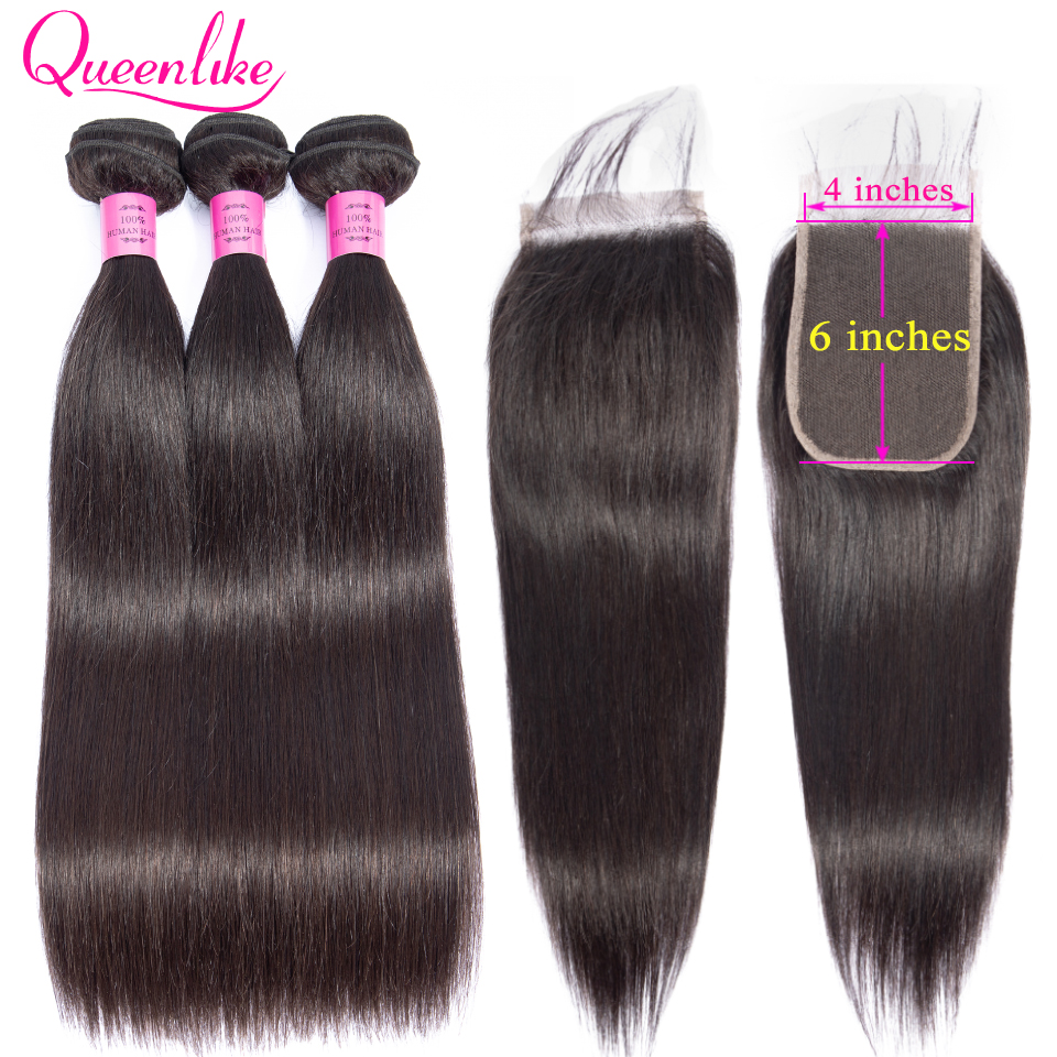 Queenlike Brazilian Straight Hair 3 Bundles With 4x6 Closure Double Weft Non Remy Human Hair Bundles