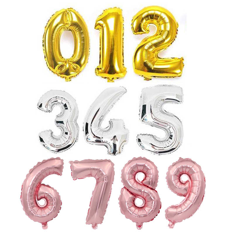 1pc 16 32 40 inch Number Foil Ballon Rose Gold Silver Figures Number Balloons Birthday Party Decoration Wedding Balloon
