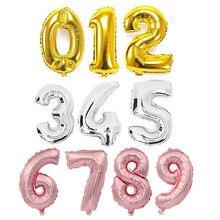 Balões metálicos de números para festas, balões metálicos para decoração de festas, aniversários e casamentos, 1 peça