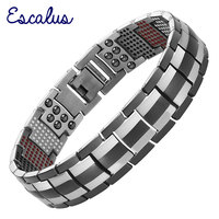 Escalus Germanium Men Black Health Titanium Bracelet 4in1 Magnets Negative Ions Far Infra Red Bangle Fashion