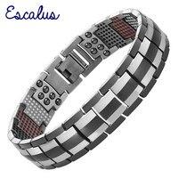 Escalus Germanium Men Black Health Titanium Bracelet 4in1 Magnets Negative Ions Far Infra Red Bangle Fashion