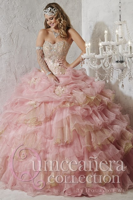 507067d0621 Pink Champagne Quinceanera Dresses Ball Gown With Beaded Sequin Ruffles  Appliques Sweet 16 Dress Vestidos De 15 Anos QL42