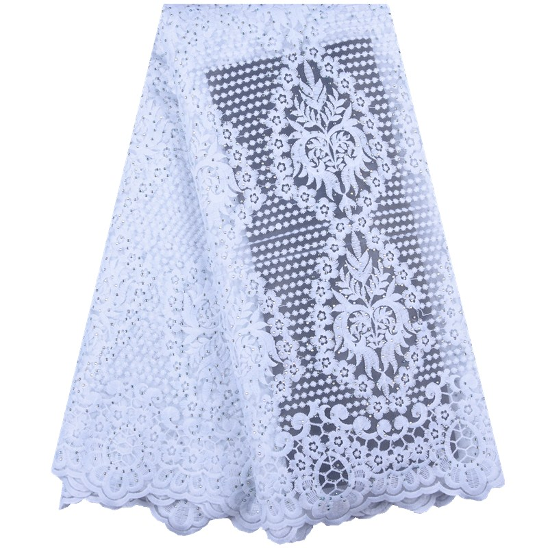 Best Selling African Lace Fabric Nigerian French Fabric 2019 High Quality White French Tulle Lace Fabric