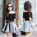 2017 New Summer Fashion Short Sleeve Off Shoulder Black T Shirt + Mesh Skirt with Ribbons Elegant Girls Clothing Set Dress