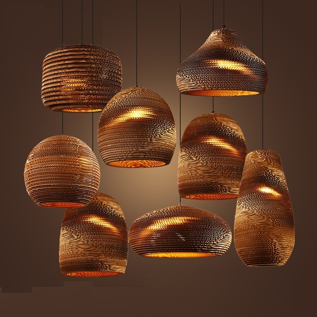 Beautiful Industrial Modern Nordic Pendant Corrugated Paper Lamp Lights  TR08