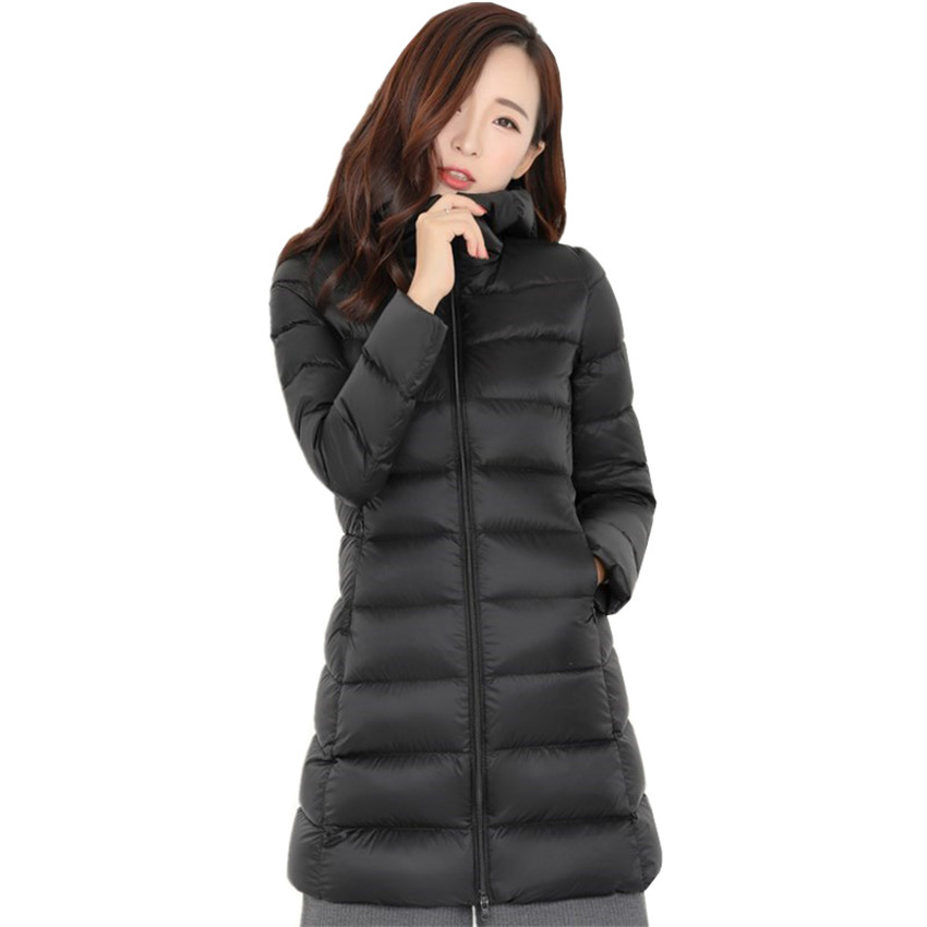 New Chic Autumn Winter Women Hooded   Down     Coat   Lady Midi Long White Duck   Down   Jacket Slim Plus Size   Down   Jacket Female CoatsWZ185
