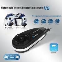VNETPHONE V5 1200M BT Bluetooth Motorcycle Helmet Interphone For 5 Riders Talk Intercom with Headset 88 XR657
