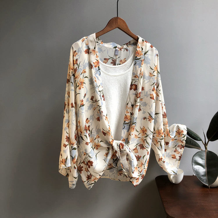 Femmes décontracté Vintage Kimono Cardigan dames 2019 été Long Crochet en mousseline de soie Kimono Preto lâche flore imprimé Blouse hauts XM211