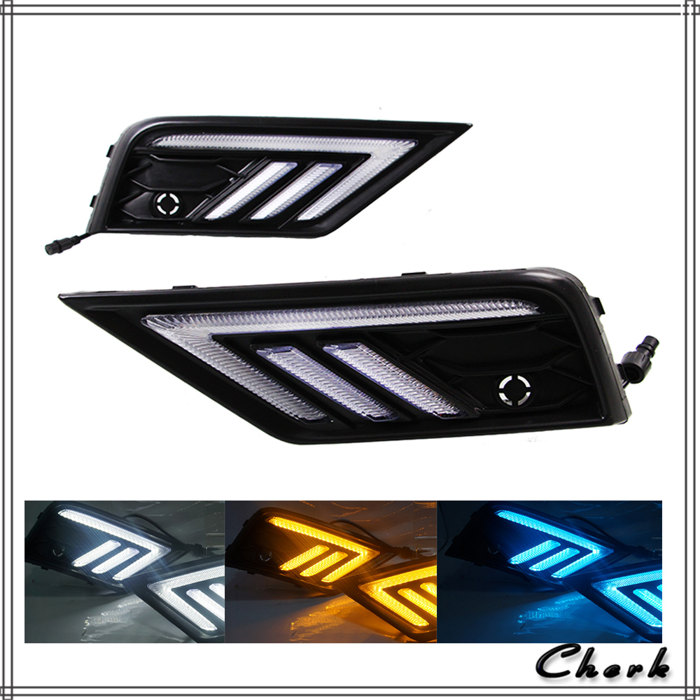 LED Day Light for Volkswagen VW Tiguan 2017 2018 Daytime Running Light with Yellow Turn Light and Night Blue Light Function car rear trunk security shield cargo cover for volkswagen vw tiguan 2016 2017 2018 high qualit black beige auto accessories