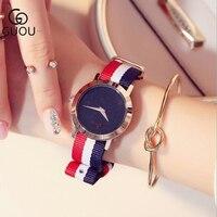 Amantes de Relógios de Luxo Homens Brilhantes Relógio GUOU Relógio Cinta de Nylon Moda Feminina relógios De Pulso Kol saati montre relogio Relógio de Quartzo|watch f|watch fashion|watch clock -