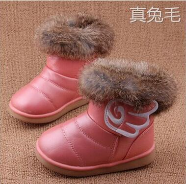 New-Winter-fashion-snow-boot-Warm-Rabbit-hair-PU-Leather-First-Walkers-shoes-wings-infant-Toddler-Baby-Girls-hard-sole-13-18CM-2
