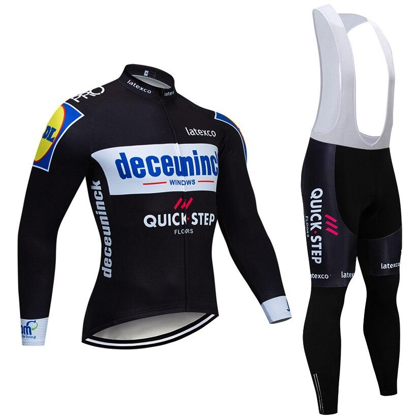 2019 クイックステップチームサイクリングジャケット 12D バイクパンツセット Ropa Ciclismo メンズ冬の熱フリースプロ自転車ジャージマイヨ着用  グループ上の スポーツ & エンターテイメント からの サイクリングセット の中 1