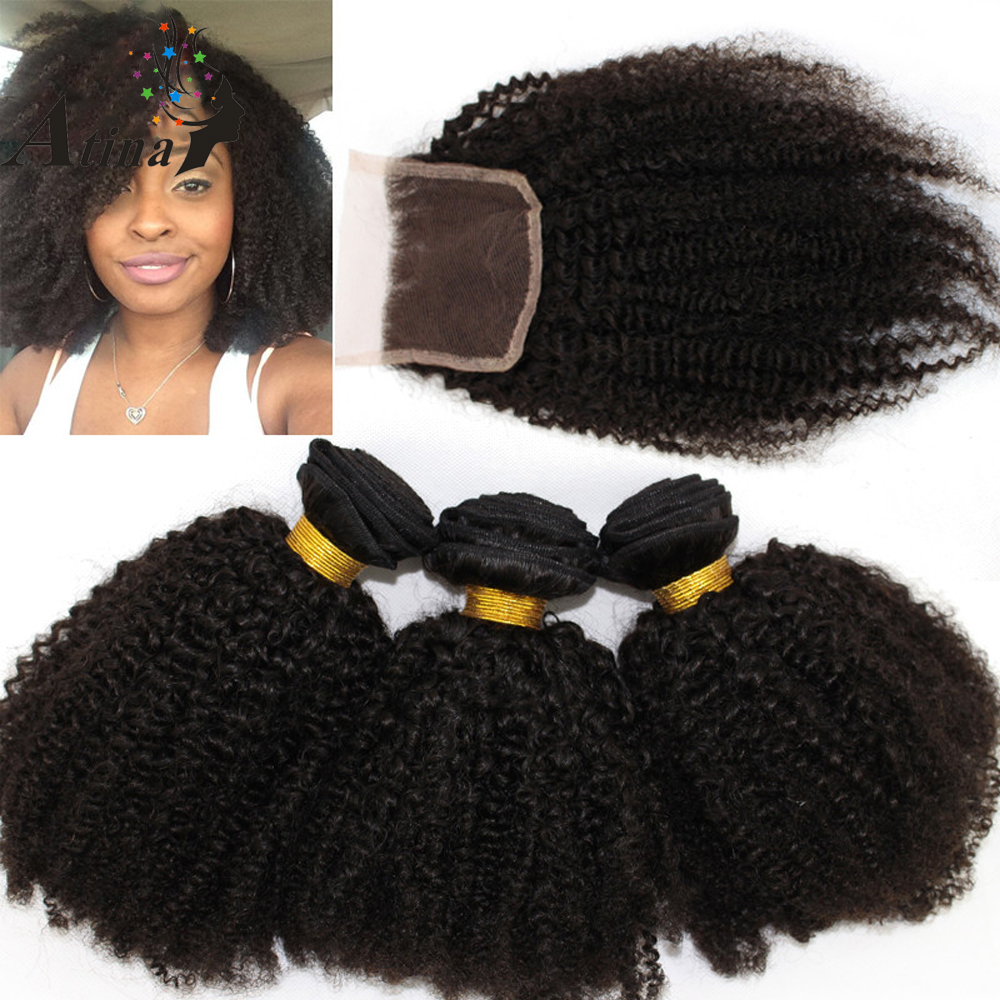 Afro Kinky Curly Virgin Hair Lace Closure with Bundles Curl 100 Human Hair Weave 3 Bundles