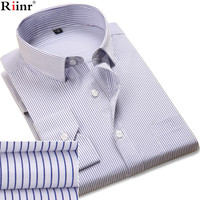 Riinr 2017 New Spring Brand Solid Color Shirt Men Fashion Striped Male Shirt Long Sleeve Business